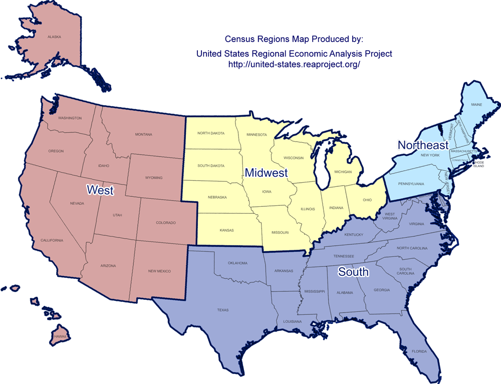 Us Economic Regions Map United States Regional Economic Analysis Project (US REAP)